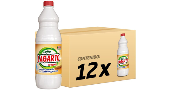 Pack x12 Botellas de Lejía Perfumada con Detergente Lagarto al Jabón de 1,5L barata en Amazon