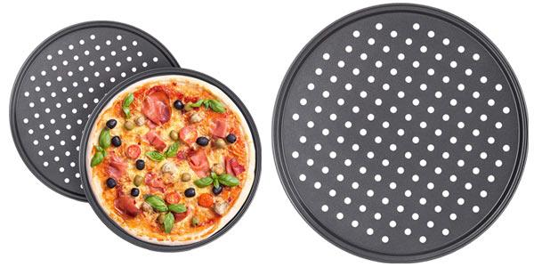 Juego de 2 Bandejas Pizza Horno Relaxdays Redondas, Antiadherentes y Perforadas barato en Amazon