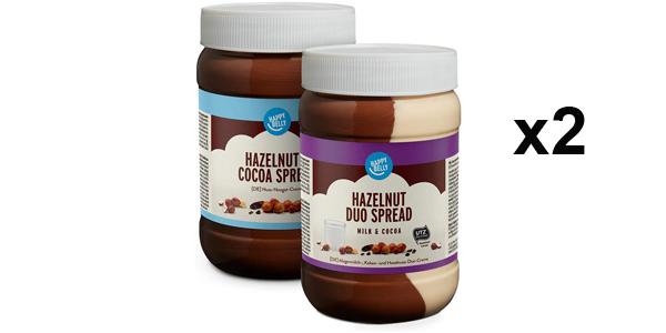 Pack x2 Crema de Cacao y Avellanas o Leche Amazon Happy Belly Select barato en Amazon