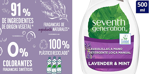 Pack de 5 lavavajillas a mano Seventh Generation de 500 ml barato