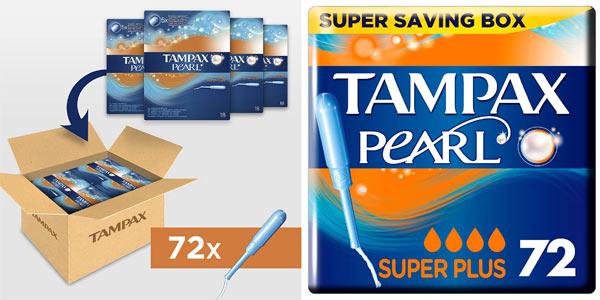 Pack x72 Tampones Tampax Pearl Super Plus baratos en Amazon