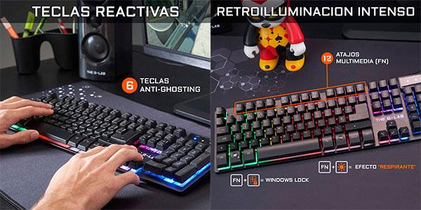 Pack THE G-LAB Krypton de teclado gaming USB + ratón RGB barato