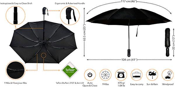 Paraguas Vanquisher invertido plegable con teflón y protección UV barato