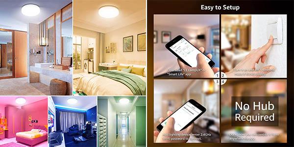 plafón inteligente LE por control voz con luz de colores a precio de chollo