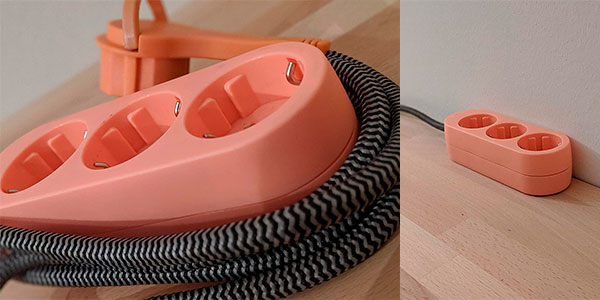Regleta de 3 enchufes Alkme con cable textil barata