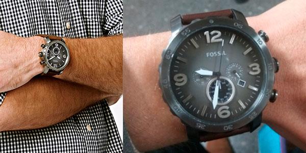 Reloj cronógrafo Fossil Nate con correa de piel para hombre barato