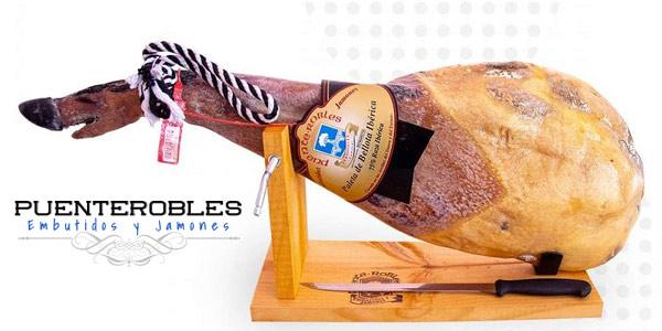 Set Paleta de Bellota ibérica 50% raza ibérica de 5 kg a 5,5 kg + Jamonero + Cuchillo GRATIS barato en Amazon