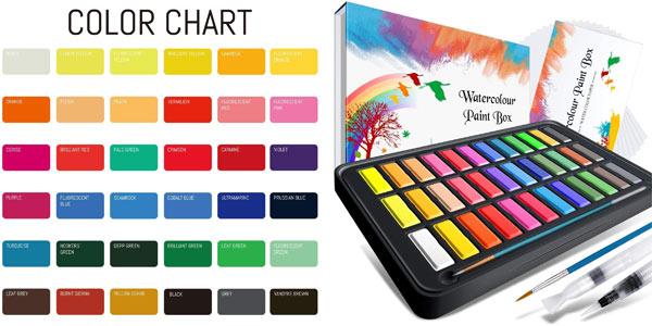 Set de pintura a la acuarela RATEL con 36 colores barato en Amazon