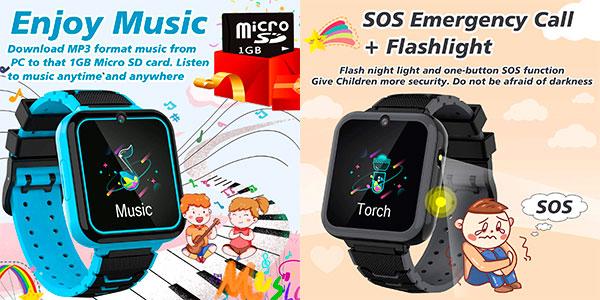 Smartwatch infantil MeritSoar Tech + tarjeta Micro SD 1 GB barato