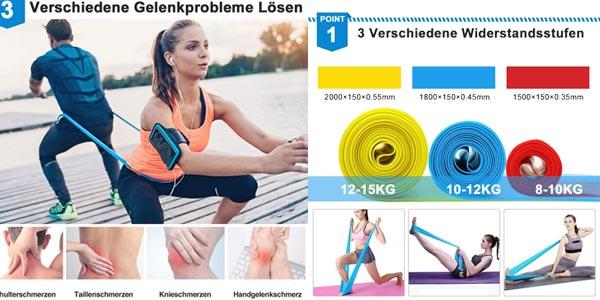 Set 3 bandas elásticas fitness Kuyang de 1.5M/1.8M/2.0M oferta en Amazon
