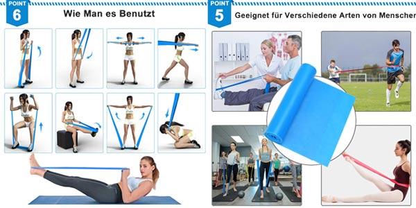 Set 3 bandas elásticas fitness Kuyang de 1.5M/1.8M/2.0M chollo en Amazon