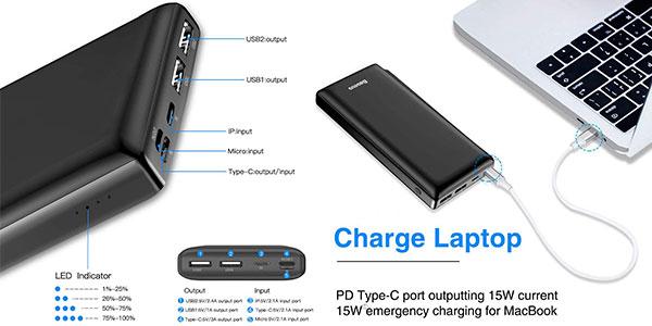 Batería externa Baseus de 30.000 mAh barata