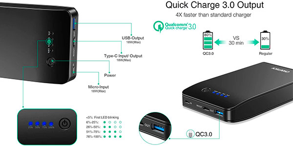 Batería externa Choetech de 20.000 mAh con USB-C y USB-A de carga rápida barata