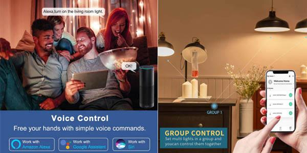 bombilla LED RGB E27 15W control móvil oferta