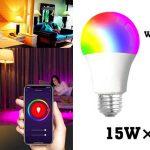 Bombilla LED RGB E27 15W control voz app chollo