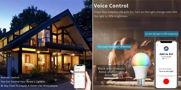 bombilla LED RGB E27 15W control voz app relación calidad-precio