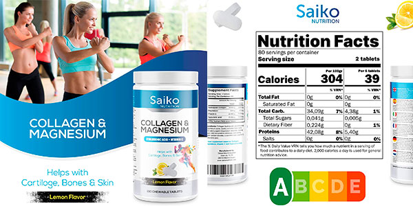 Bote Saiko de colágeno masticable con magnesio y vitamina C de 160 comprimidos barato