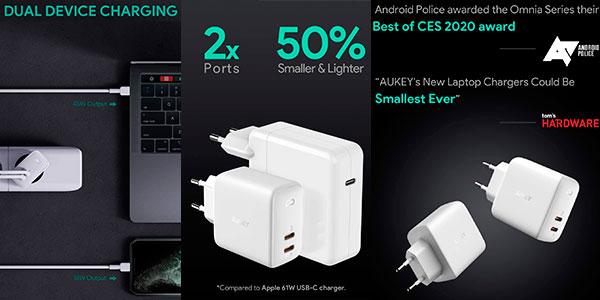 Cargador Aukey Omnia Duo USB-C de 65 W barato