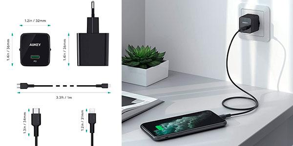 Cargador Aukey USB-C de 18 W con carga rápida barato