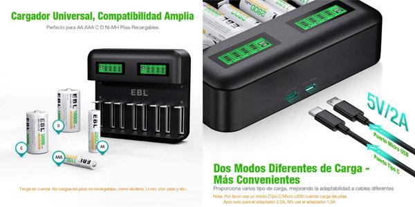 Pack Cargador EBL LCD + 8 Pilas (4 AA y 4 AAA) barato en Amazon