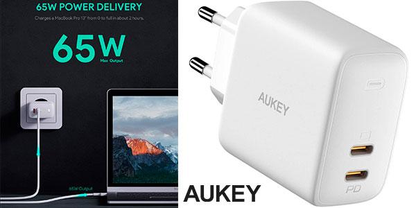 Chollo Cargador Aukey Omnia Duo USB-C de 65 W
