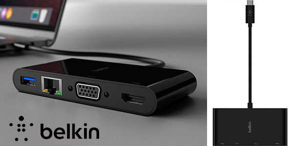 Chollo Adaptador multimedia Belkin USB-C con puertos VGA, HDMI 4K, USB 3.0 y Ethernet