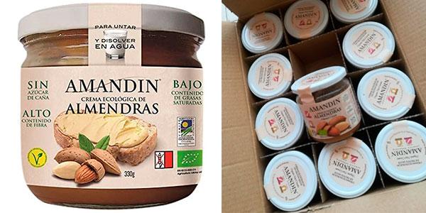Chollo Pack de 12 botes de crema ecológica de almendras Amandin de 330 gr
