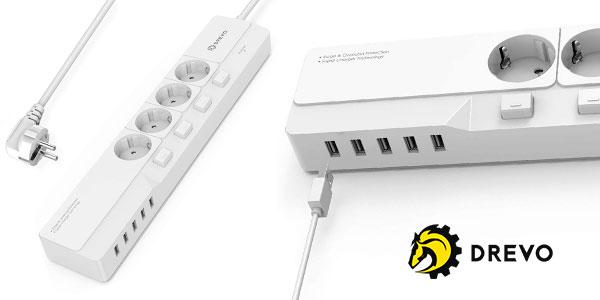 Chollo Regleta Drevo DP45 de 4 enchufes con interruptores y 5 puertos USB