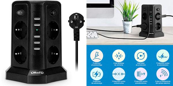 Chollo Regleta vertical de 8 enchufes y 5 USB