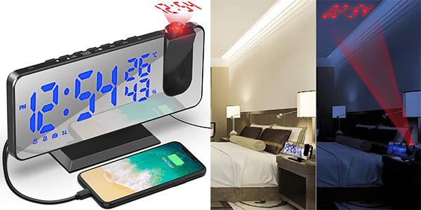 Despertador con proyección y puerto de carga USB