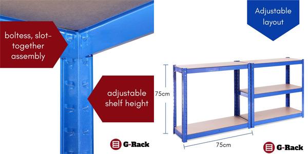 Estantería de almacenamiento G-Rack 0020-1 en acero inoxidable recubierto (150 x 75x30 cm) oferta en Amazon