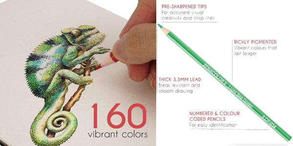 Set x160 Lápices de colores (Numerados) Zenacolor en estuche metálico chollo en Amazon