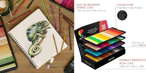 Set x160 Lápices de colores (Numerados) Zenacolor en estuche metálico oferta en Amazon