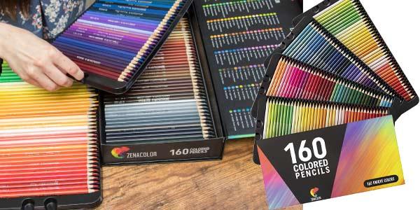Set x160 Lápices de colores (Numerados) Zenacolor en estuche metálico barato en Amazon