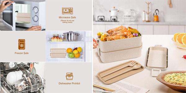 Fiambrera doble Baban + cubiertos + bolsa oferta en Amazon