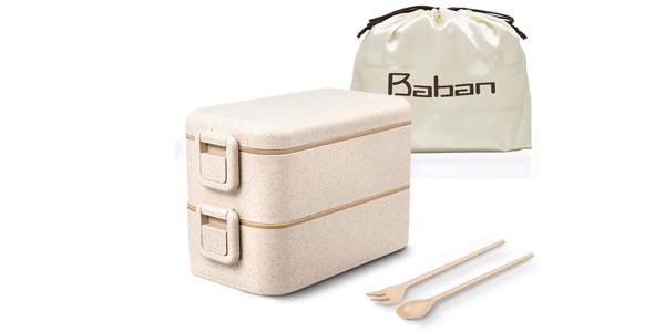 Fiambrera doble Baban + cubiertos + bolsa barata en Amazon