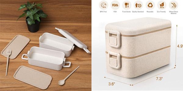 Fiambrera doble Baban + cubiertos + bolsa chollo en Amazon
