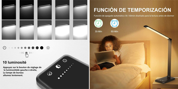 Lámpara Escritorio LED Stator con 10 niveles de brillo y temporizador chollo en Amazon