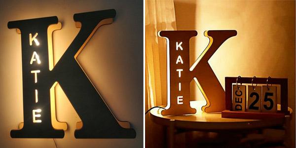 Lámpara LED Inicial personalizable con tu nombre chollo en AliExpress