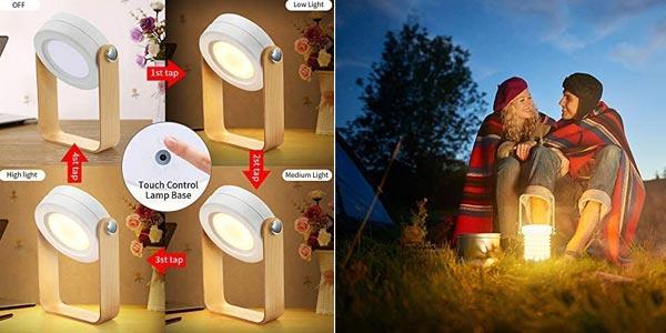 Lámpara LED plegable de mesilla de noche Bromose regulable táctil chollo en Amazon