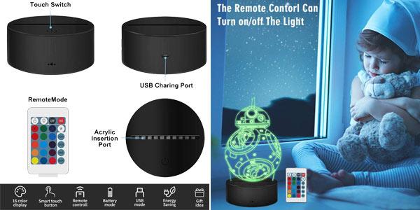 Lámpara LED 3D holográfica Cenove chollo en Amazon