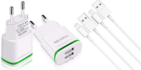 Pack x2 enchufes cargadores de 2 USB + 2 cables lightning barato en Amazon