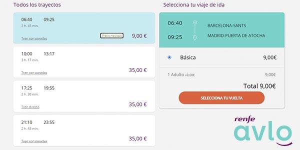 ofertas AVLO Renfe viajes 2021