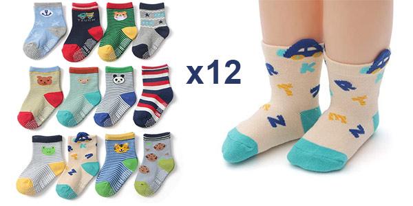Pack x12 calcetines antideslizantes Yafane para niños y bebés con diseños divertidos baratos en Amazon