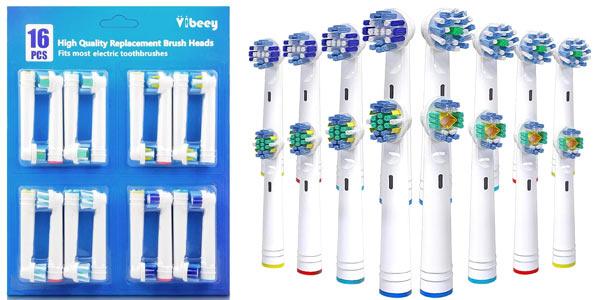 Pack x16 Recambios Cepillo Vibeey para Braun Oral B con 4 Tipos de Cabezales barato en Amazon