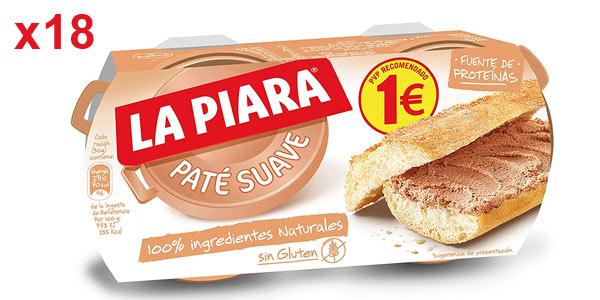 Pack x18 La Piara Sólo Natural Paté suave de hígado de cerdo (36 latas de 75 g) barato en Amazon