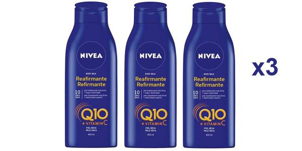 Pack x3 Nivea Q10 Body Milk Reafirmante de 400 ml loción corporal hidratante barata en Amazon