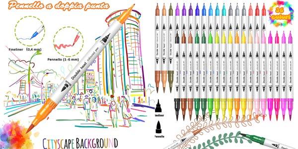 Pack x36 Rotuladores de colores Lettering Uzopi de doble punta baratos en Amazon