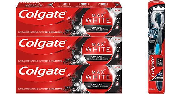 Pack x3 Pasta de dientes Colgate Max White Carbon + cepillo blanqueador