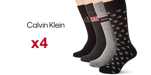 Pack x4 pares calcetines Calvin Klein Men Jeans Logo Crew Socks para hombre baratos en Amazon
